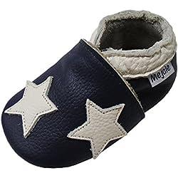 Mejale Chaussons Enfant Bébé en Cuir Doux-Chaussons Cuir Souple-Chaussures Premiers Pas-Dessin animé Étoiles, Bleu Marine, 6-12 mois/5.1 pouce (Taille Fabricant: M)