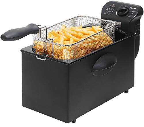 Bestron Fritteuse Cool Zone, Für 1 kg Frittiergut, 3,5 Liter, 2000 W, Schwarz