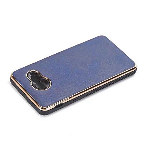 Ultra dünn und leichtes Retro verrücktes Pferd Leder Haut Dual Layer PC + TPU Hybrid Shell Cover Case [Shockproof] für Samsung Galaxy J5 2017 ( Color : Black ) Blue