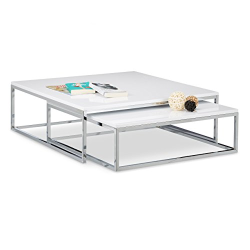 Relaxdays 10020409 Table Basse avec Plateau en Bois Flat Lot de 2 Blanc HxlxP: 27 x 80 x 80 cm Table gigogne carré Gain de Place Lot de 2 Salon canapé Table d'appoint Cadre métal chromé, Blanc