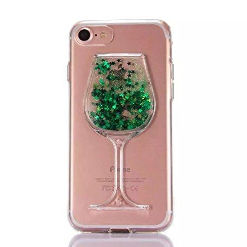 SKYXD für iphone 7 Hülle Weiche Silikon Crystal Clear Glitzer Stern Pailletten Fließen [Hart Plastik Weinglases Rückseite] Schutzhülle mit [Handyanhänger + Eingabestifte] Gel Gummi Etui for Apple ipho Color-16