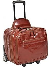 Valise En Cuir Véritable Bagages De Cabine Voyage Sac Week-End à Roues Trolley Châtaigne A0518