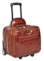 Real Leather Pilot Case Travel Laptop Bag on Wheels Telescopic Handle HOL15 Cognac