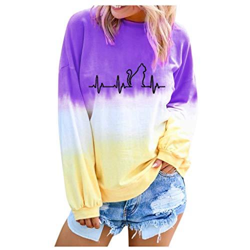 OIKAY Damen Bluse Loch Hemd Locker Sweatshirt