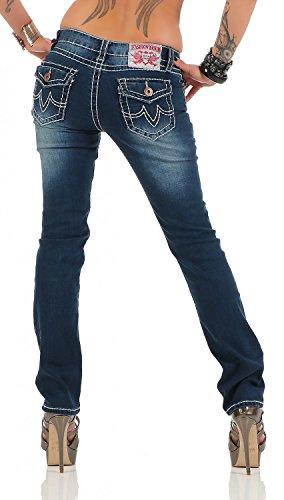 Damen Jeans Hose Gerades Bein Dicke Naht (539) Dunkelblau