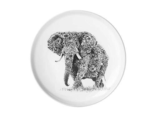 Maxwell & Williams DX0375 Marini Ferlazzo Teller African Elephant, aus Bone China Porzellan, Schwarz, Weiß, in Geschenkbox Weiß Bone China