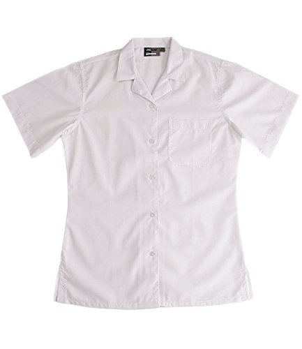 Quality Girls Easy Iron Generous Cut School Blouse, Short Sleeve, White 44in chest