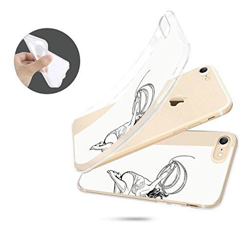 finoo | iPhone 6 / 6S Weiche flexible lizensierte Silikon-Handy-Hülle | Transparente TPU Cover Schale mit Wonder Woman Motiv | Tasche Case mit Ultra Slim Rundum-schutz | Every Mom Lineart Jump