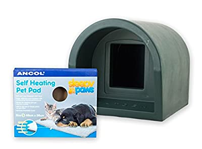 Mr Snugs Plastic Outdoor Cat Kennel & Ancol Self-Heating Pet Pad - Green