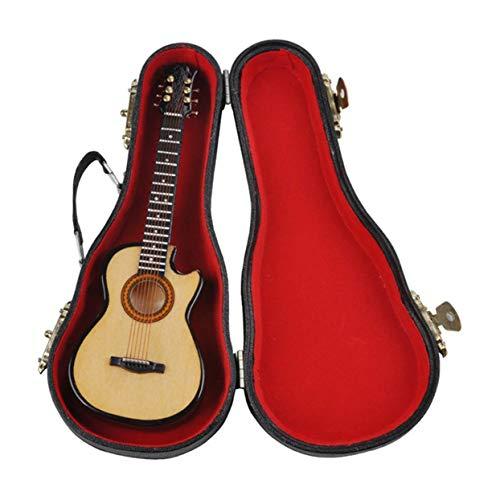 Mini Musikalische Ornamente Holz Handwerk Miniatur Gitarre für Zuhause Schöne Dekoration Zubehör ()