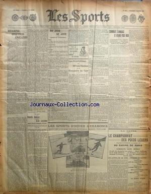 SPORTS (LES) [No 1129] du 03/01/1908 - ESTAMPES SPORTIVES ANGLAISES - COMMENT S'ANNONCE LE GRAND PRIX 1908 - LES PREDICTIONS DE MME DE THEBES ET LA CONQUETE DE L'AIR - LES SPORTS D'HIVER A CHAMONIX - BOXE - MOREAU CONTRE GAUCHER - CHAMPIONNAT DES POIDS LEGERS DE LUTTE