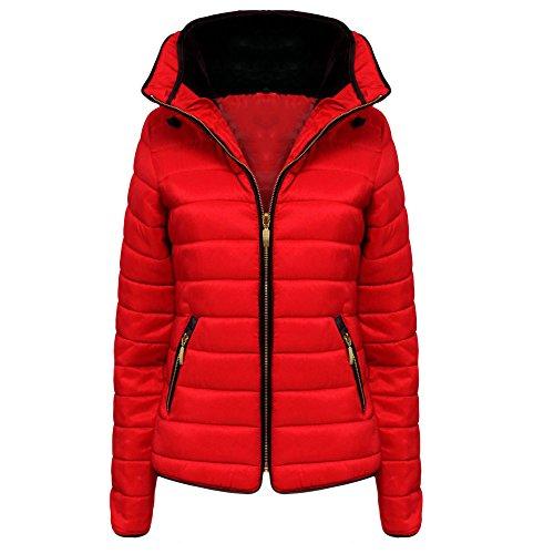 New nuovo da donna trapuntato imbottito Puffer Bubble collo di pelliccia caldo Spessore giacca cappotto top taglia UK 8–14 Red