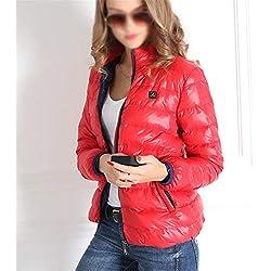 Chaqueta TéRmica EléCtrico USB Calefactable Jacket Abajo Encapuchado Invierno Mujer CáLido Ropa Lavable para Acampar Al Aire Libre,Red,XL