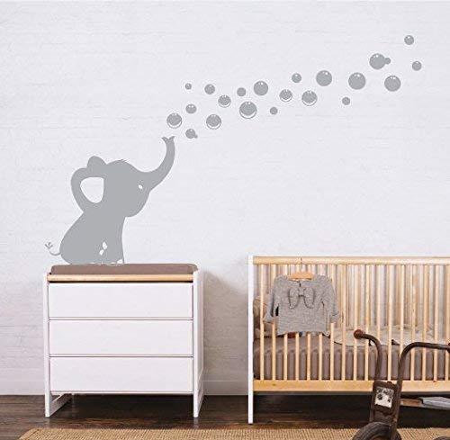Sayala Bebé Elefante Pared Pegatinas y murales,Vinilo Adhesivo Infantil Pegatina Pared para Dormitorio Sala Elefante,Pared dodoskinz la habitación del bebé (Gris)