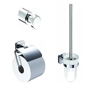 Emco Accessoires-Set, WC Bürste,Bürstengarnitur, Halter Toilettenpapier, Handtuchhaken