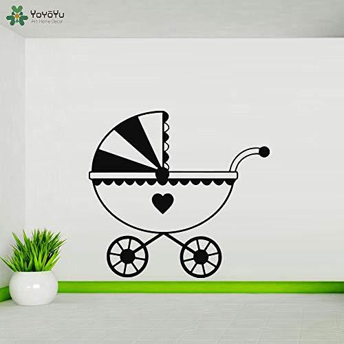 yaoxingfu Wandtattoo Kinderwagen Kinderzimmer Wandaufkleber Abnehmbare Modernes Design Kunstwand Baby Schlafzimmer Interior Home Decor Herz weiß 45x42cm