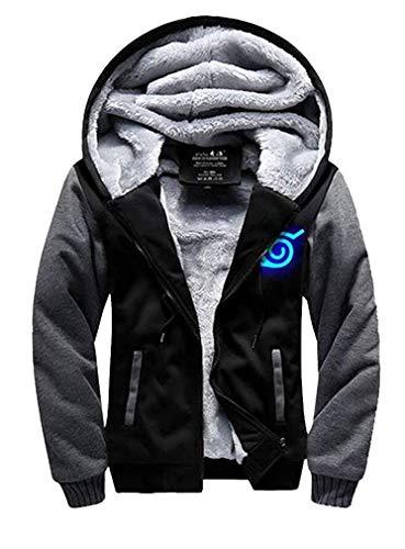 Wellgift Naruto Hoodie Anime Winterjacke Herren Jugendliche Dick Plus Samt Kapuzenpullover Sweatshirt Zip Kleidung Cosplay ()