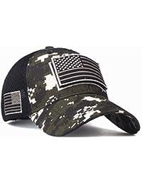 Gorras de béisbol, panpany Gorro Moda Bandera Americana Bordado Gorra de béisbol Verano Malla Sombrero