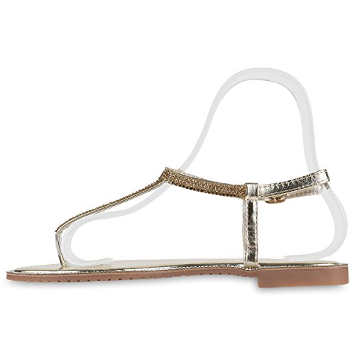 Damen Sandalen Zehentrenner Metallic Strass Flats Schuhe Gold Strass Cabanas