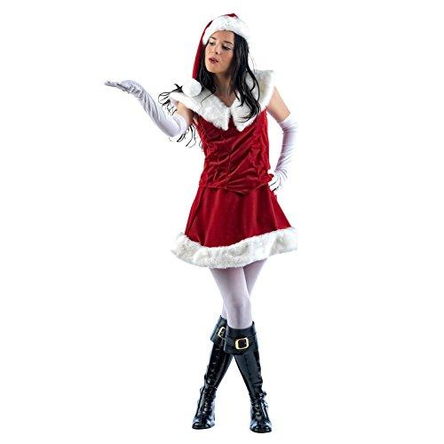 Weihnachtsgirl-Kleid zum Fest oder Fasching, ärmelloses, kurzes, Kleid mit Fellkragen - (Weißen Anzug Disco Männer Kostüme)