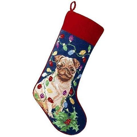 Pug with Lights Dog Needlepoint Christmas Stocking by Peking (Pug Christmas Stocking)