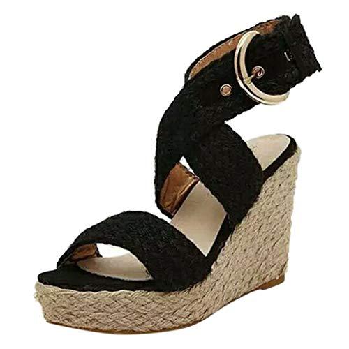 Alaso - Espadrillas da donna, alla moda, con plateau, cinturino alla caviglia, tacco compensato, 10 cm Nero 41