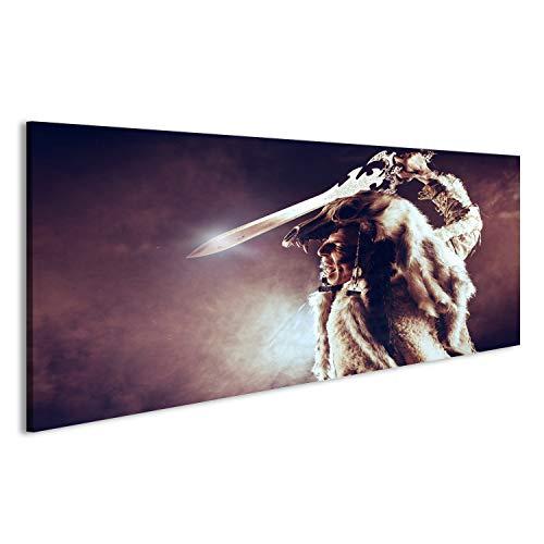 bilderfelix® Bild auf Acrylglas Alter Krieger Barbar. Ethnisches Kostüm Heidentum, Ritual. Wandbild hochglanzpoliert Glasbild Poster DOQ