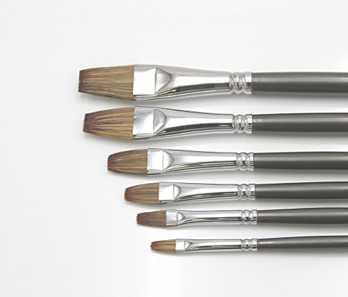 """Paintersisters-Neuss Künstler Pinselset 4"""" für Ölfarbe & Acryl, 6 Hochwertige Pinsel aus Wiesel/Naturhaar Größen 2-18, Premium Set 4 mit Flacher Spitze Rotmarder"""