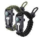 Zhiye Survival Paracord Bracelet Flint Fire Starter Scraper Compass Wilderness Survival Whistle Adjustable Wristband Fits Men Women Kids