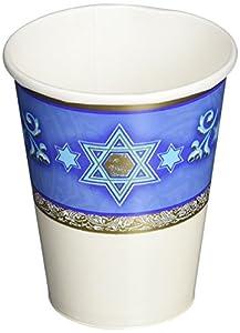 Amscan International-589940Copa Papel 266ml-printedcup 266ml: Judaic tradiciones