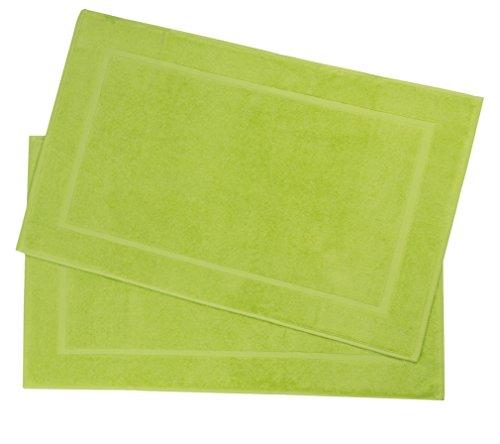 Zollner 2er-Set Badematten/Badvorleger/Badteppich apfelgrün 50x80 cm aus 100% Baumwolle, Gewicht ca. 520 g/qm, in weiteren Farben erhältlich, in Premium-Qualität, Serie Star-Elba