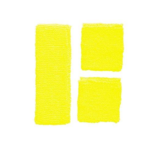 Schweißbänder Neon Stirnband Armbänder wrist wristband Schweissbänder Sport 80er, Farbe:Gelb