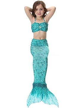 Kinder Mädchen Meerjungfrau Schwanz Mermaid Kostüm 3tlg. Badeanzug Bikini Set 10 Farben 110CM-140CM