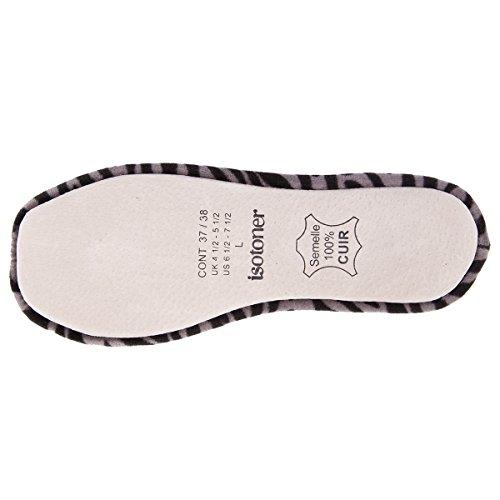 Isotoner - Pantofole donna, in velluto, con fiocco grande Zebra