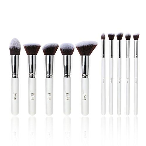 Jessup 10 pcs Blanc/argenté Kabuki Cosmetics Lot de pinceaux de professionnel Fond de teint d'Eyeliner Maquillage Beauté outils T075