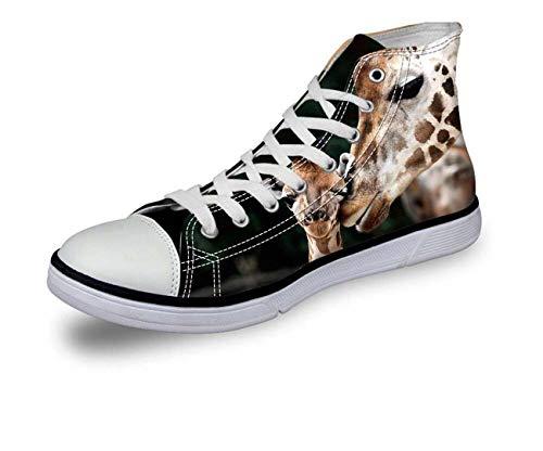 New Canvas Couple Shoes Fashion Print Hi Tops Women Men High Top Lace Up Trainer Giraffe CA5091AK UK 4\u002FEU37