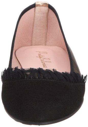 Pretty Ballerinas 41025, Ballerines femme Noir / Platine (Angelis Negro / Ami Nude)