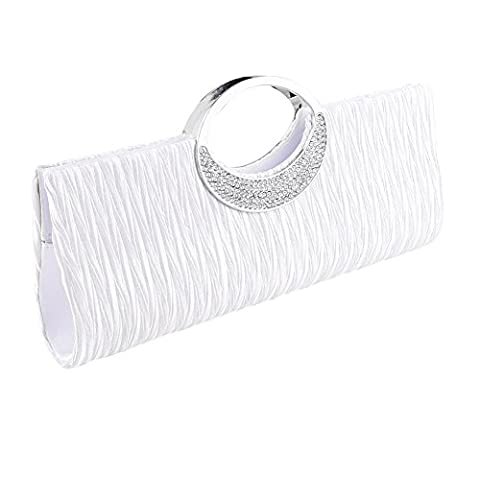 Clorislove Ladies Satin Rhinestone Pleated Evening Party Wedding Clutch Bag Handbag (White)