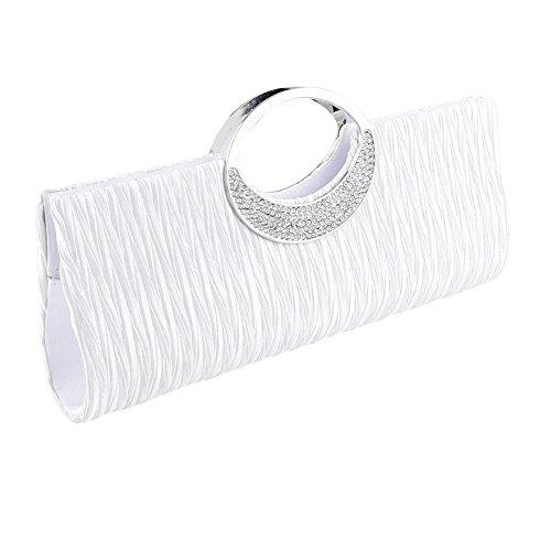 Borsetta a tracolla donna, in raso a pieghe, pochette, Clorislove Timeless strass per feste, matrimoni & club. White