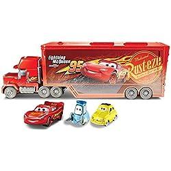 Disney Pixar Cars Fireball Beach Racers Mack Hauler Vehicle with Two Toy Cars