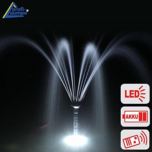 SOLAR TEICHPUMPE SPRINGBRUNNEN GARTENBRUNNEN OSLO 300 Light + Remote Solar Teichpumpen Set 3 Watt mit FERNBEDIENUNG, max. 300L/h, WASSERSPIEL Springbrunnen mit STABILEM ALU-RAHMEN, Akku-Betrieb, Licht, Timer und Memory-Funktion f. GARTEN TEICH 2-6qm!