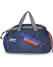 NIVIA - - Step Out & Play 'Dominator' Polyester Sports Bag (Navy and Orange, Small)