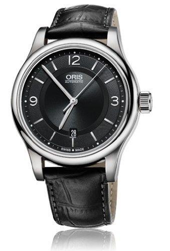 Oris Classique Date Cadran Noir en cuir noir montre pour homme 0173375944034–0752011par la bouche