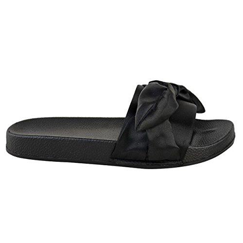 Damen NEU flach bequem Schleife ohne Bügel SOMMER SCHIEBER Pantolette Sandalen Schuhe Größe Schwarz Satin