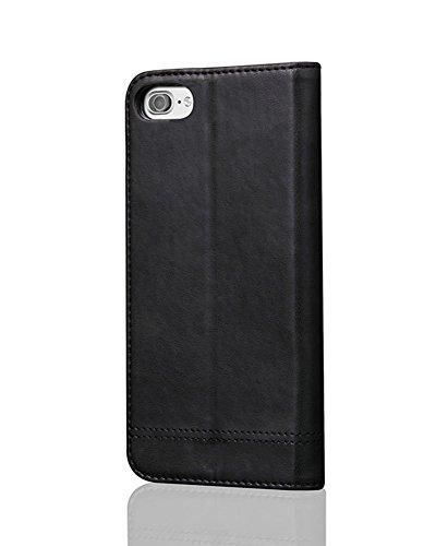 LaoZan iPhone Brieftasche, PU-Leder Vintage Flip Case Handyhülle Flip Tasche Wallet Case Schwarz
