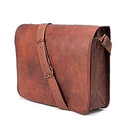 ANUENT de sacs en cuir Vintage souple en cuir Messenger brun véritable sacoche pour ordinateur portable véritable porte…
