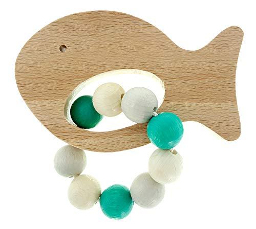 Hess Holzspielzeug 11122 - Greifrassel Fisch, Greifling  aus Holz, für Babys ab 0 Monaten, nature türkis, ca. 11 x 7 x 5 cm