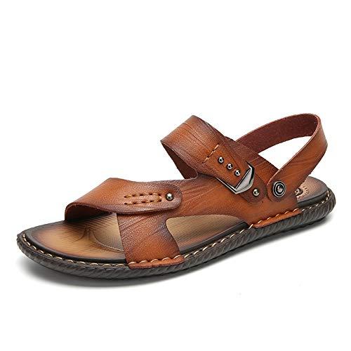 Apragaz Herren Sandalen Open Toe Lässige Leder Komfortschuhe Athletic Sandal Dual-Zweck Hausschuhe (Color : Gold, Größe : 39 EU) -