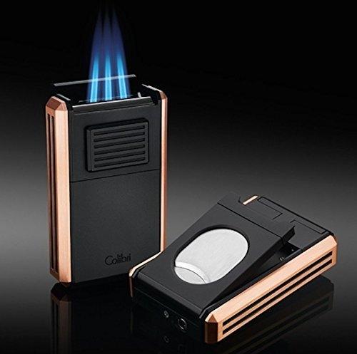 Colibri Astoria Rose Gold Triple Jet Feuerzeug mit ausklappbaren Zigarrenschneider New