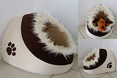 Garden Mile® Anti-slip Small Beige And Brown Paw Print Fleece Cat Or Dog Fur Trimmed Igloo Pet Bed For Cats, Kittens Or Small Dogs